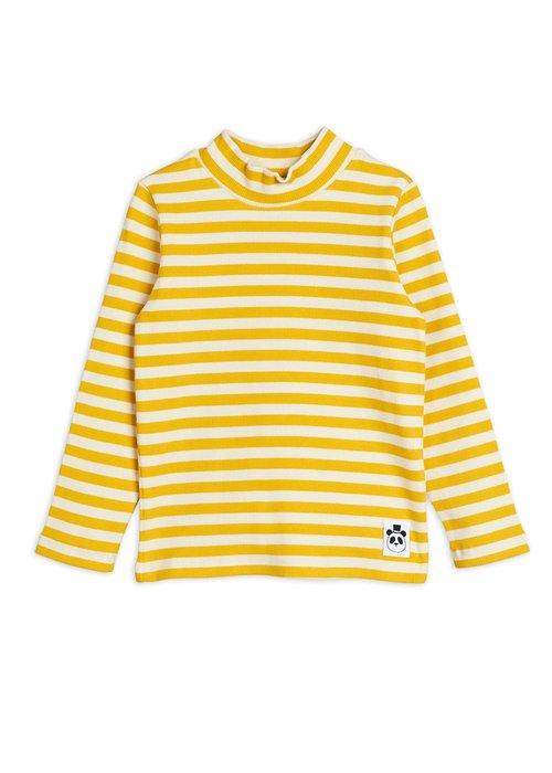 Mini Rodini Mini Rodini Stripe Rib High Neck LS Tee Yellow