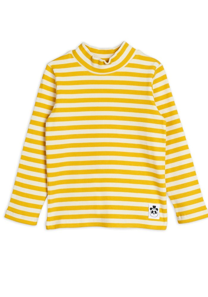 Mini Rodini Stripe Rib High Neck LS Tee Yellow