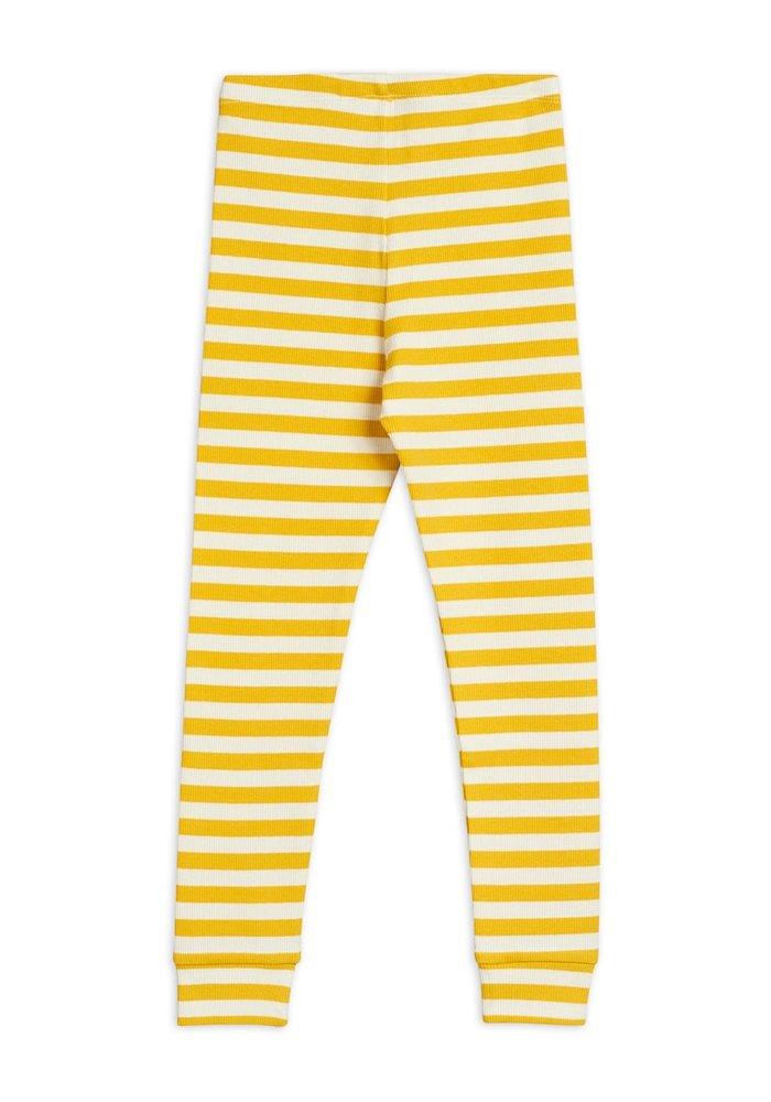 Mini Rodini Stripe Rib Legging Yellow