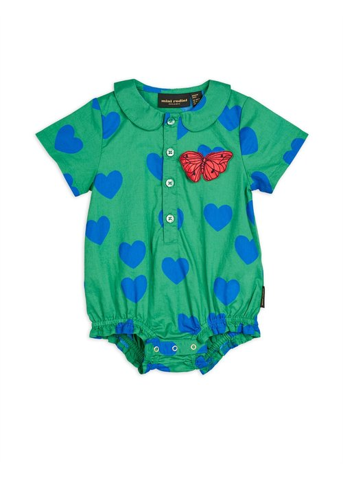 Mini Rodini Mini Rodini Hearts Woven Body Hearts Green
