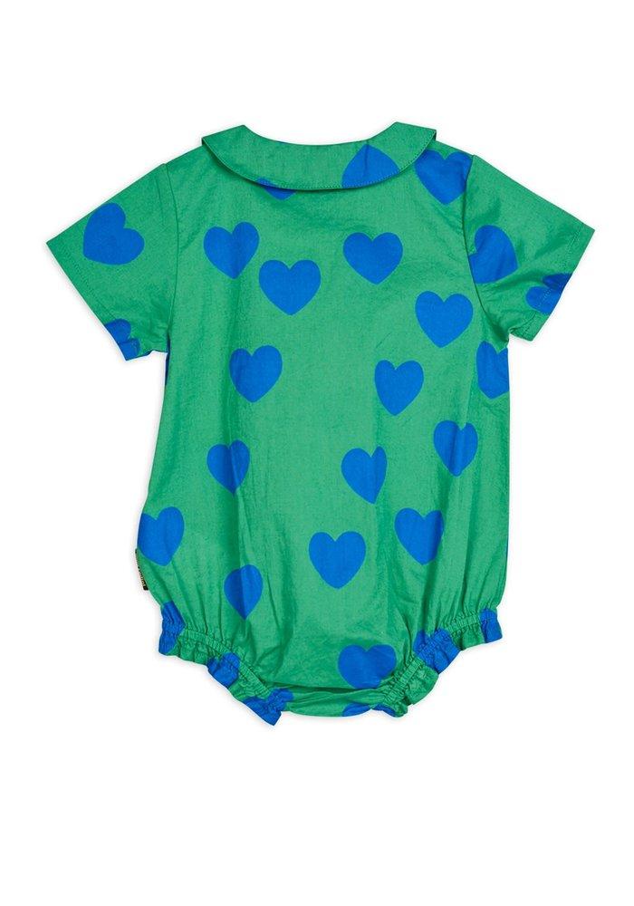 Mini Rodini Hearts Woven Body Hearts Green
