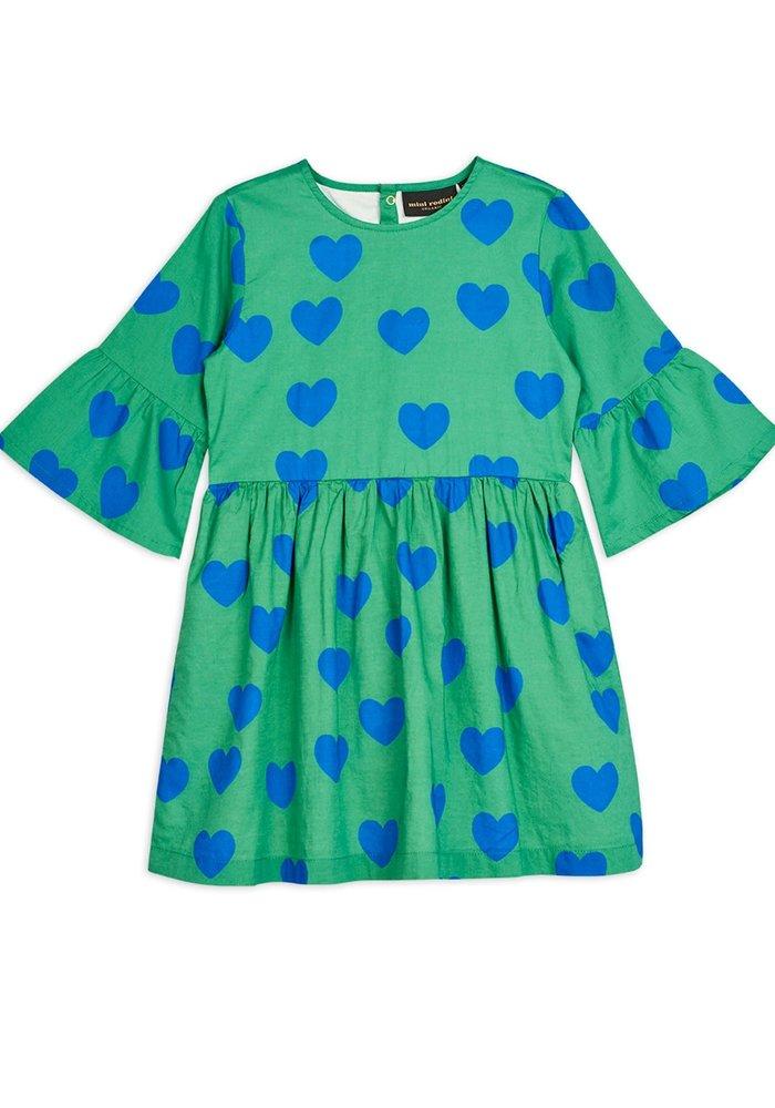 Mini Rodini Hearts Flared Sleeve Dress Green
