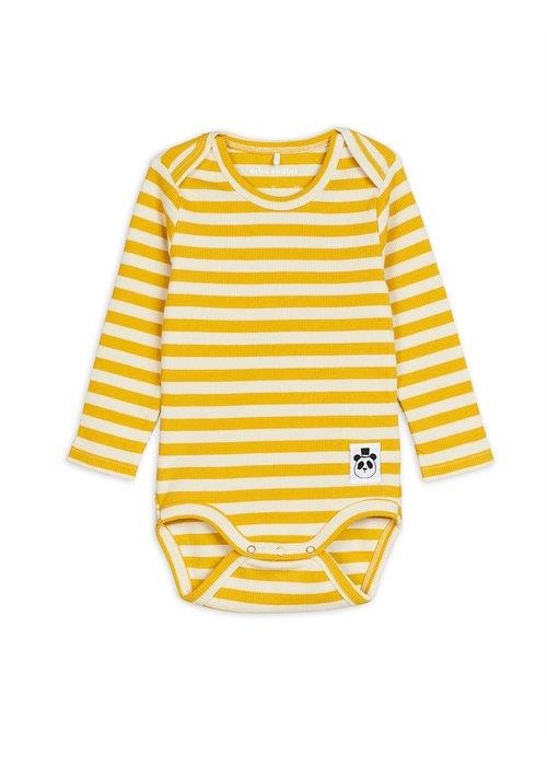 Mini Rodini Mini Rodini Stripe Rib ls Body Yellow