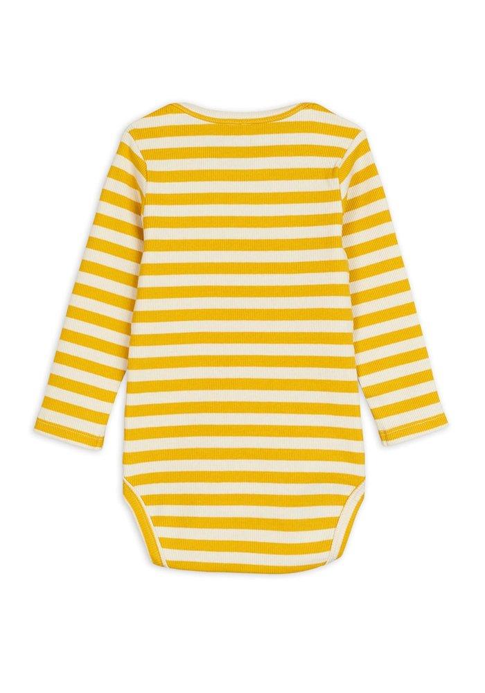 Mini Rodini Stripe Rib ls Body Yellow
