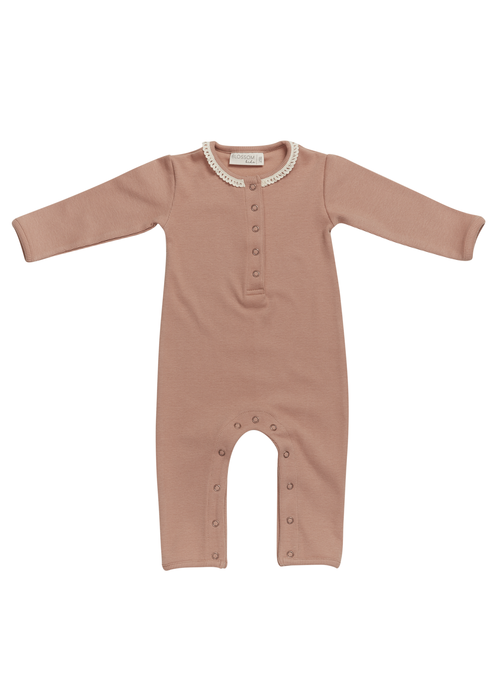 Blossom Kids Blossom Kids Playsuit with Lace Toffee Blush