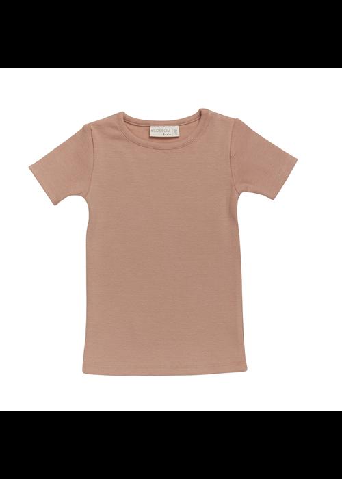 Blossom Kids Blossom Kids Short Sleeve Shirt  Soft Rib Toffee Blush