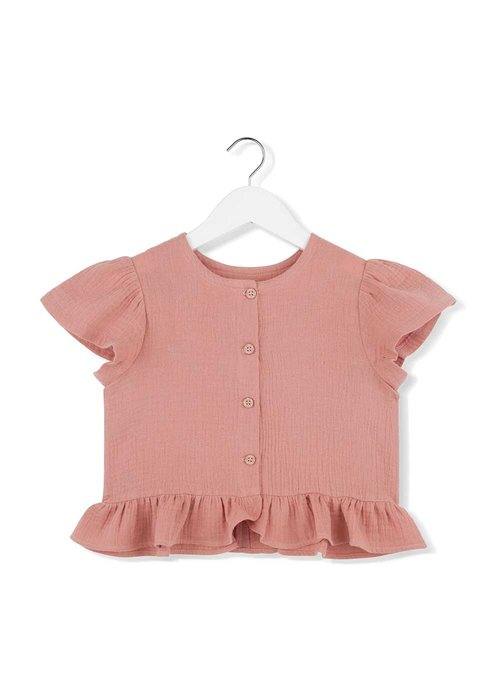 Kids on the Moon Kids on the Moon Coral Cloud Buttoned Blouse