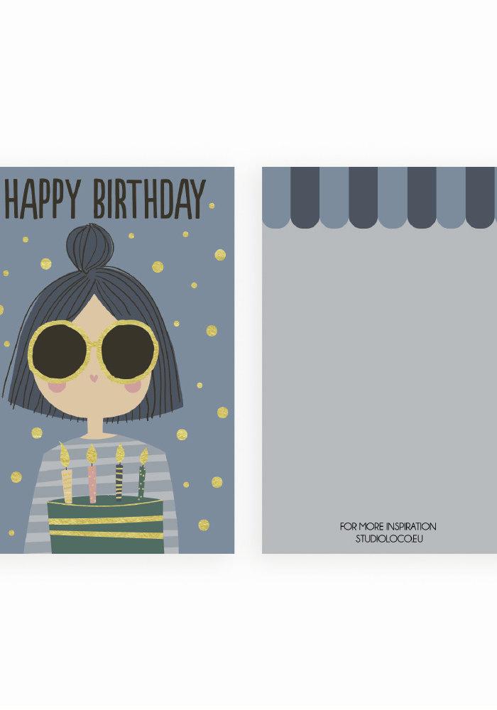 Studio Loco Multipack B-day Cards Girl