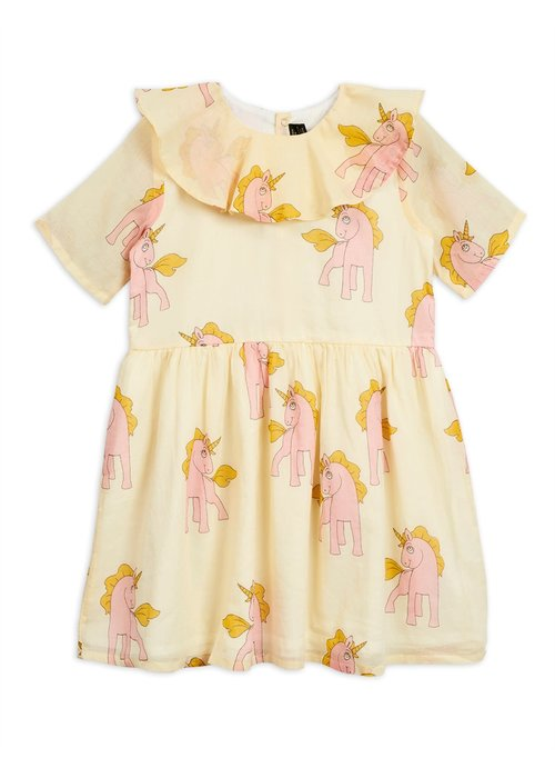 Mini Rodini Mini Rodini Unicorns Woven Dress Yellow