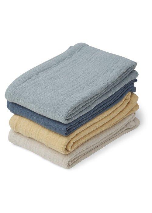 Liewood Liewood Leon Muslin Cloth - 4 pack - Blue Mix