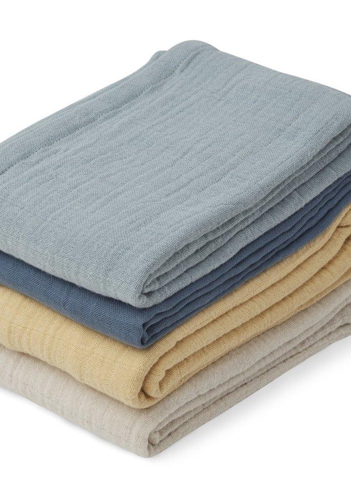 Liewood Leon Muslin Cloth - 4 pack - Blue Mix