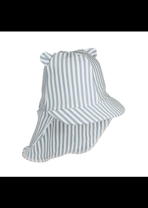 Liewood Liewood Senia Sun Hat Seersucker Stripe Sea Blue/White