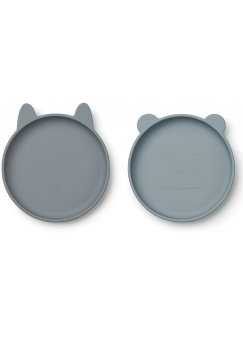 Liewood Liewood Olivia Silicone Plate 2-pack Blue Mix