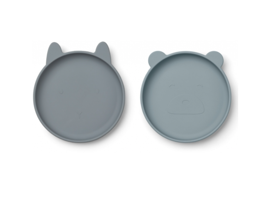 Liewood Olivia Silicone Plate 2-pack Blue Mix