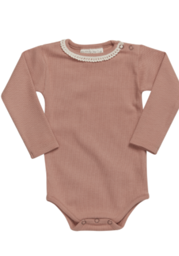 Blossom Kids Body Long Sleeve with Lace Soft Rib Toffee Blush