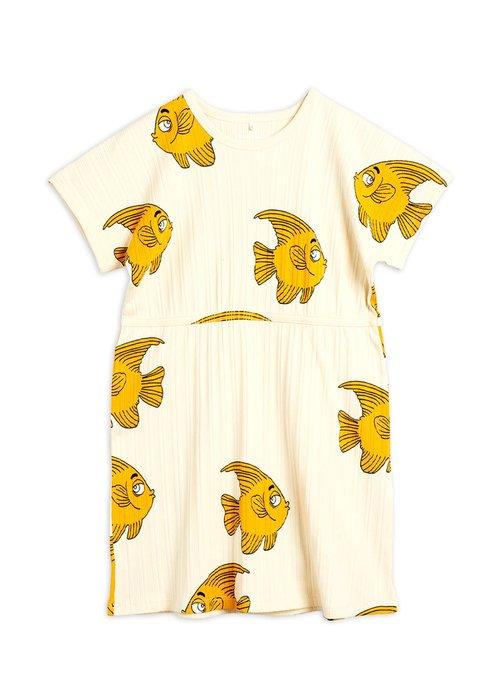 Mini Rodini Mini Rodini Fish SS Dress Offwhite