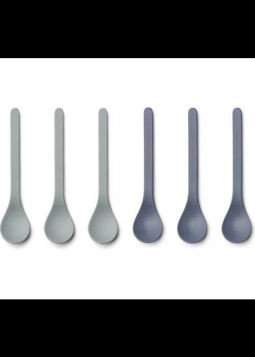 Liewood Liewood Etsu Bamboo Spoon 6-pack Blue Mix