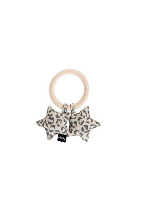 House of Jamie House of Jamie Teething Ring Stars Snow Leopard Velvet