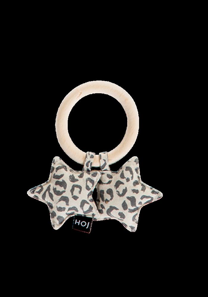 House of Jamie Teething Ring Stars Snow Leopard Velvet