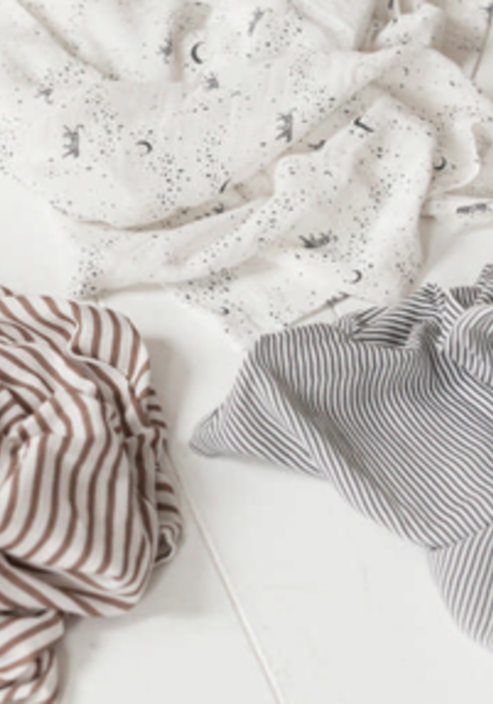 House of Jamie Swaddle Set of 3 Toffee & Stripes