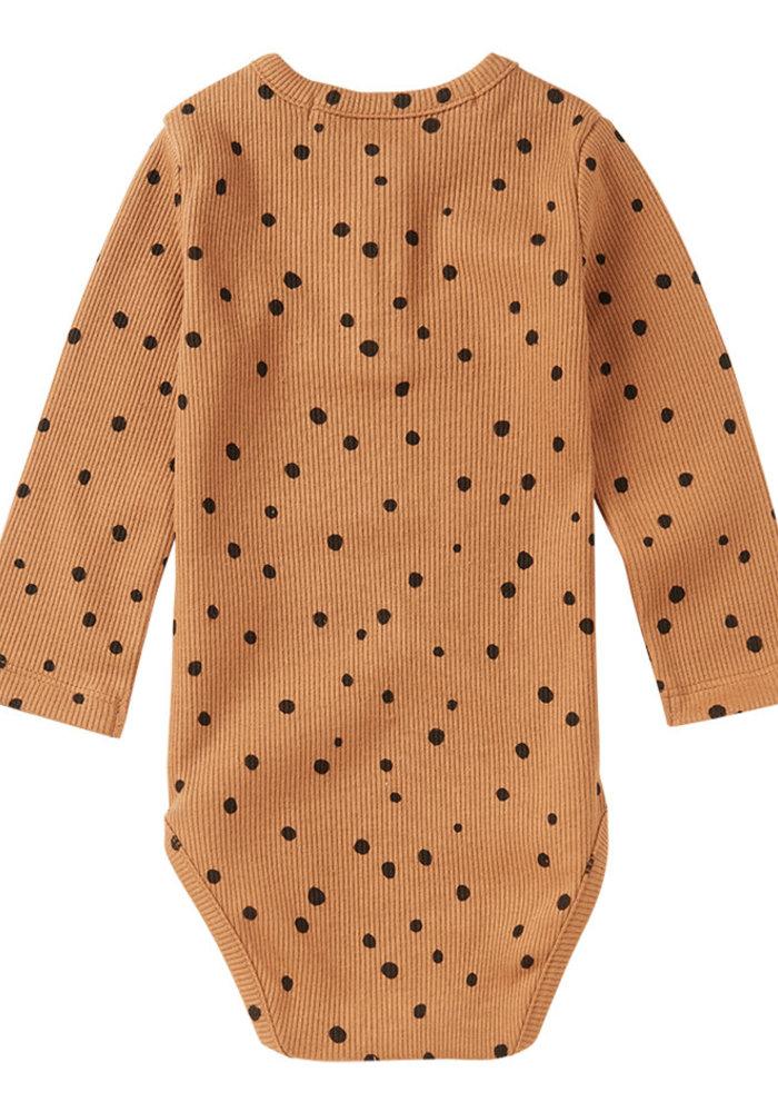 Mingo Rib Bodysuit Dots Caramel/Black