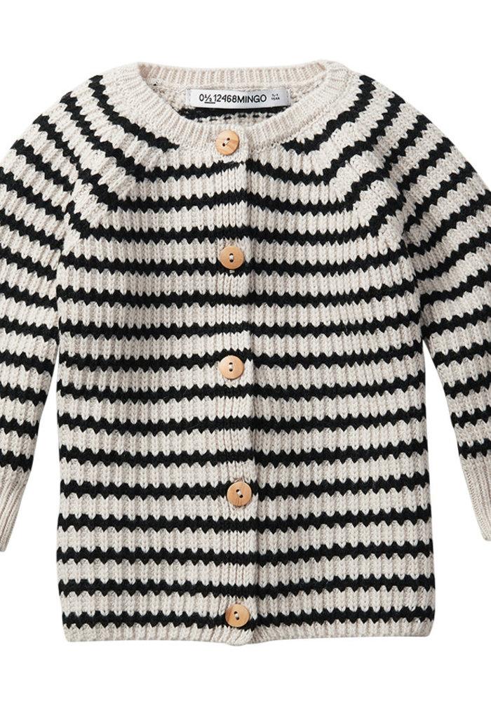 Mingo Baby Cardigan Stripes Black/White