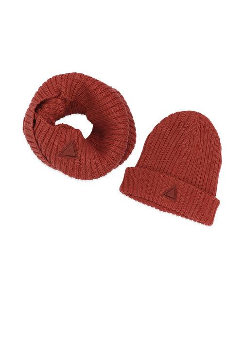 Ammehoela Ammehoela Bobbie Hat en Scarf Bombay-Brown