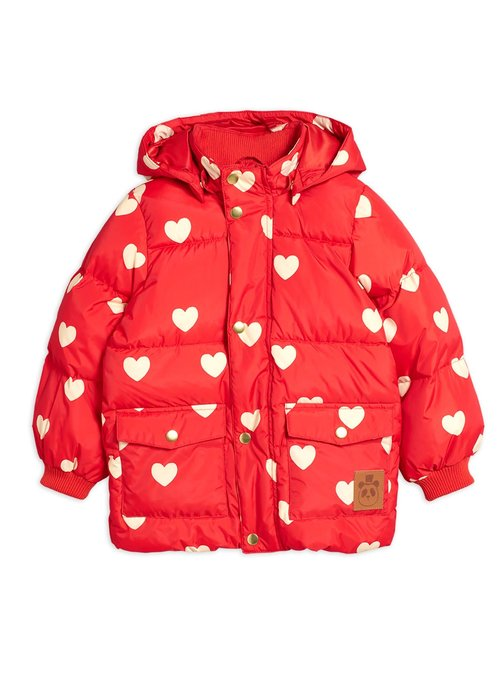 Mini Rodini Mini Rodini Hearts Pico Puffet Jacket Red