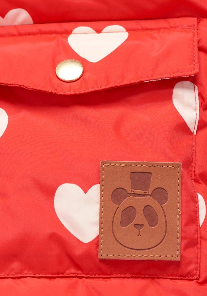 Mini Rodini Hearts Pico Puffet Jacket Red