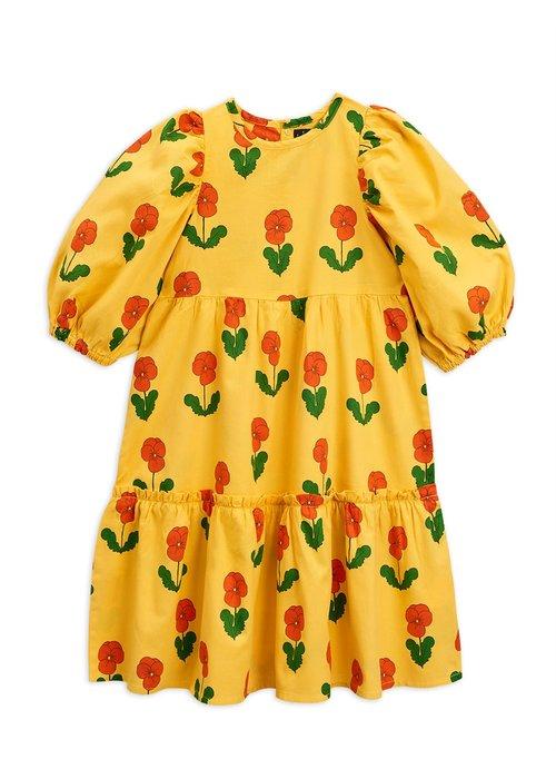 Mini Rodini Mini Rodini Violas Woven Puff Sleeve Dress Yellow