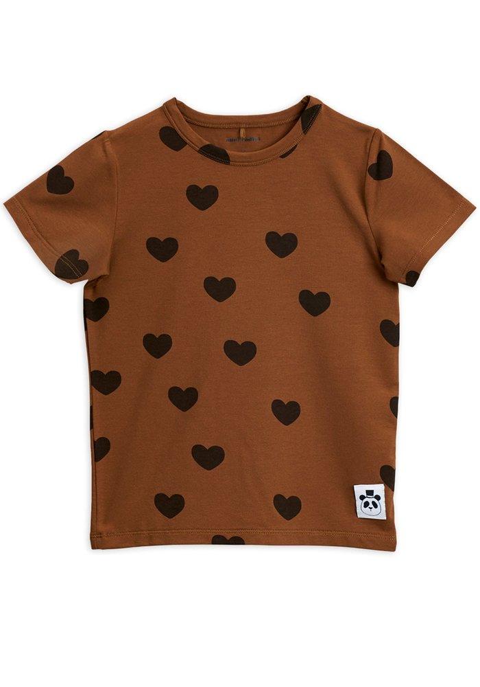 Mini Rodini Hearts SS Tee Brown