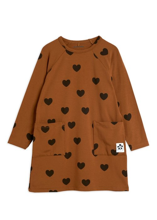 Mini Rodini Mini Rodini Hearts LS Dress Brown