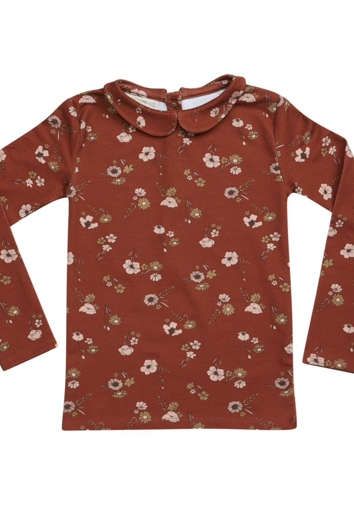 Blossom Kids Peterpan LS Shirt Festive Floral Dusty Terra