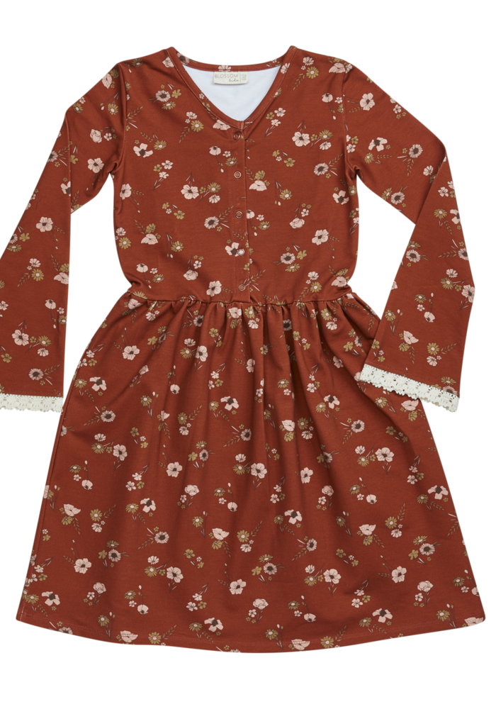 Blossom Kids Maxi Dress Festive Floral with Flaired Sleeves & Lace Dusty Terra