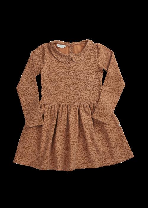 Blossom Kids Blossom Kids Peterpan Dress LS Leave Drops Caramel Fudge