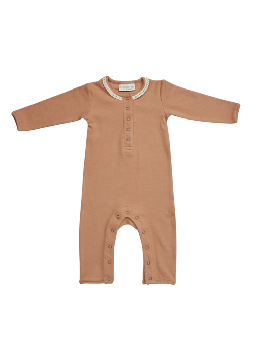 Blossom Kids Blossom Kids Playsuit with Lace Deep Toffee