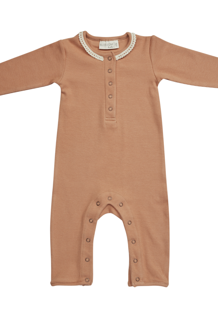 Blossom Kids Playsuit with Lace Deep Toffee