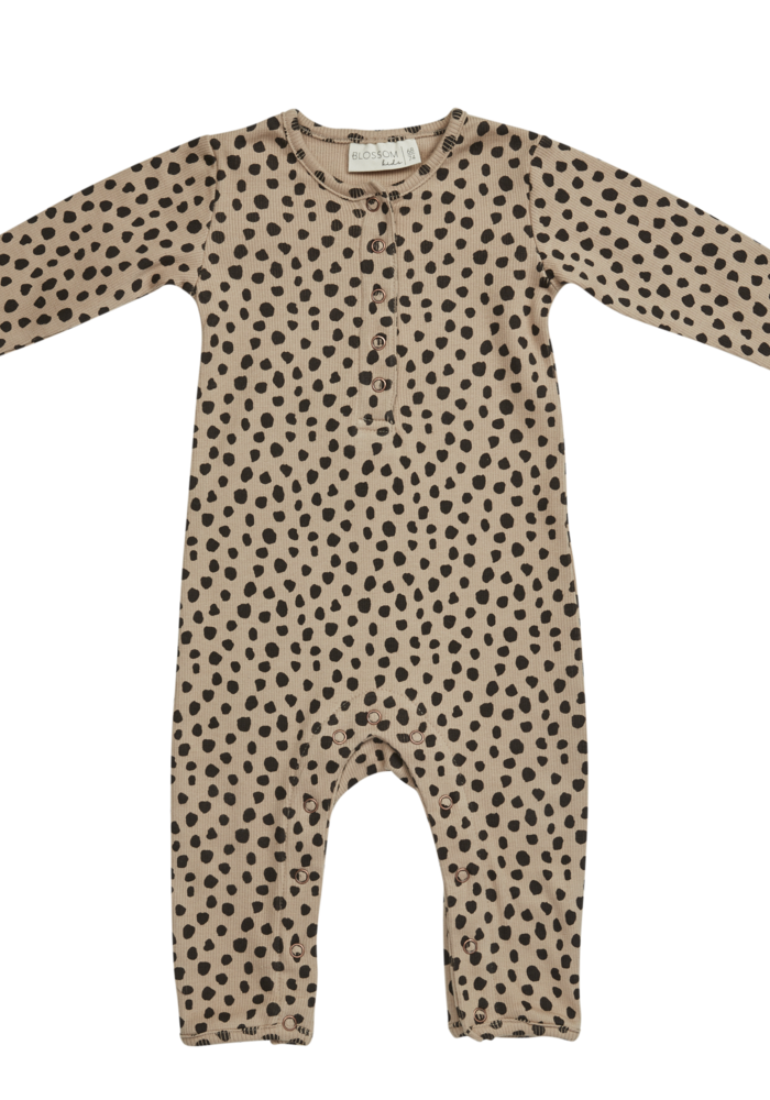 Blossom Kids Playsuit Printed Animal Dot Warm Sand