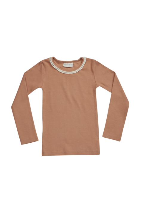 Blossom Kids Blossom Kids LS Shirt with Lace Deep Toffee