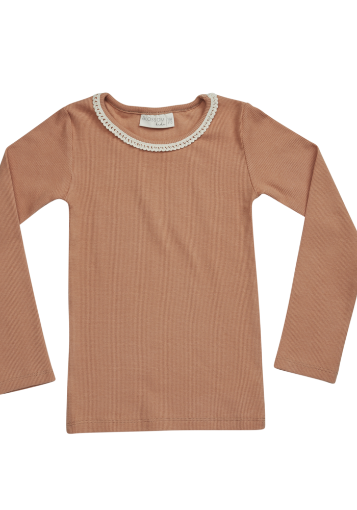 Blossom Kids LS Shirt with Lace Deep Toffee