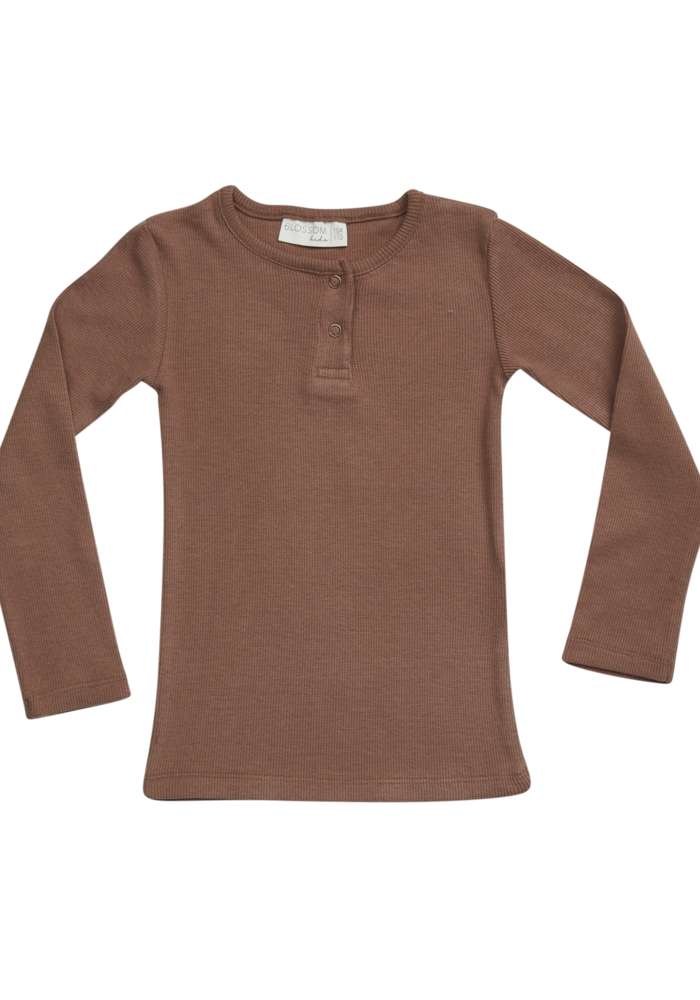 Blossom Kids LS Shirt Henley Smoked Hazelnut