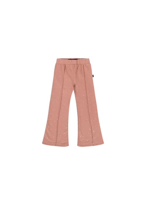 House of Jamie House of Jamie Flared Pants Dusty Mauve Golden Dots