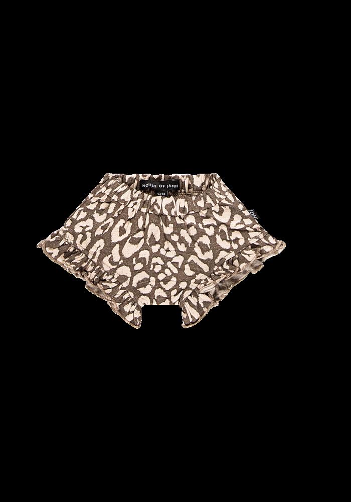 House of Jamie Ruffled Shorts Rosewood Leopard