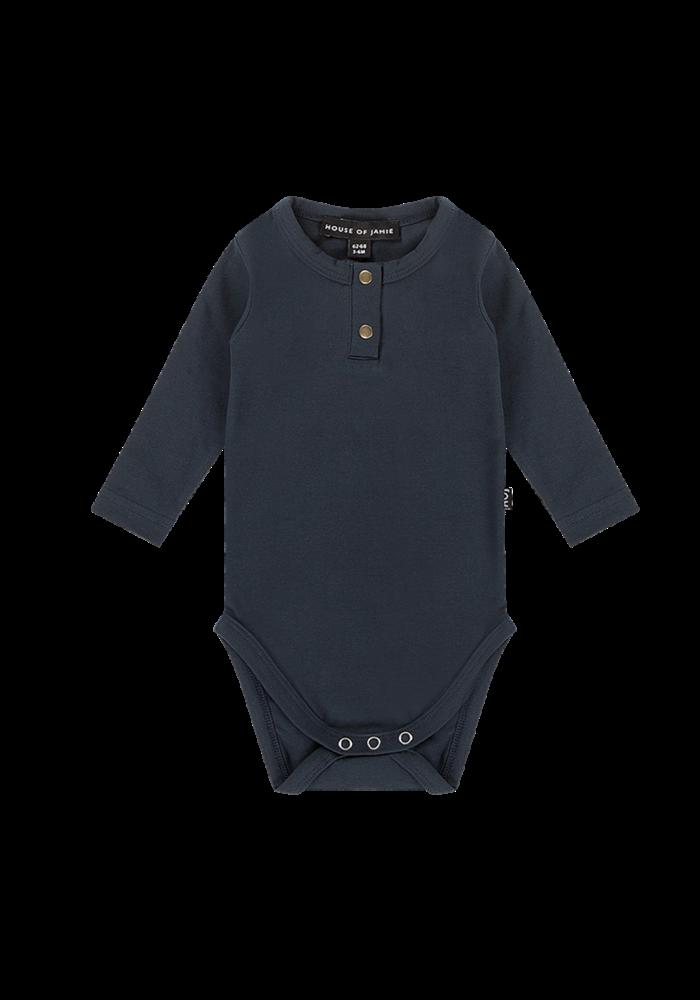 House of Jamie Button Bodysuit LS Dark Blue