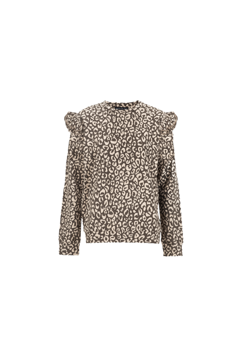 House of Jamie House of Jamie Mommy Ruffled Sweater Rosewood Leopard