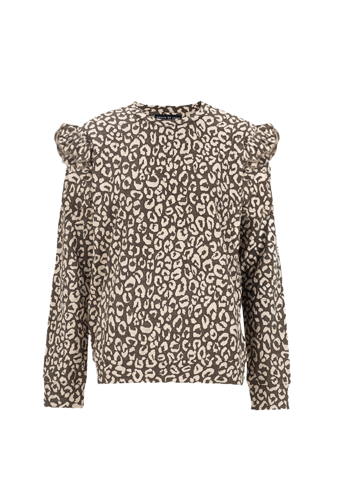 House of Jamie Mommy Ruffled Sweater Rosewood Leopard
