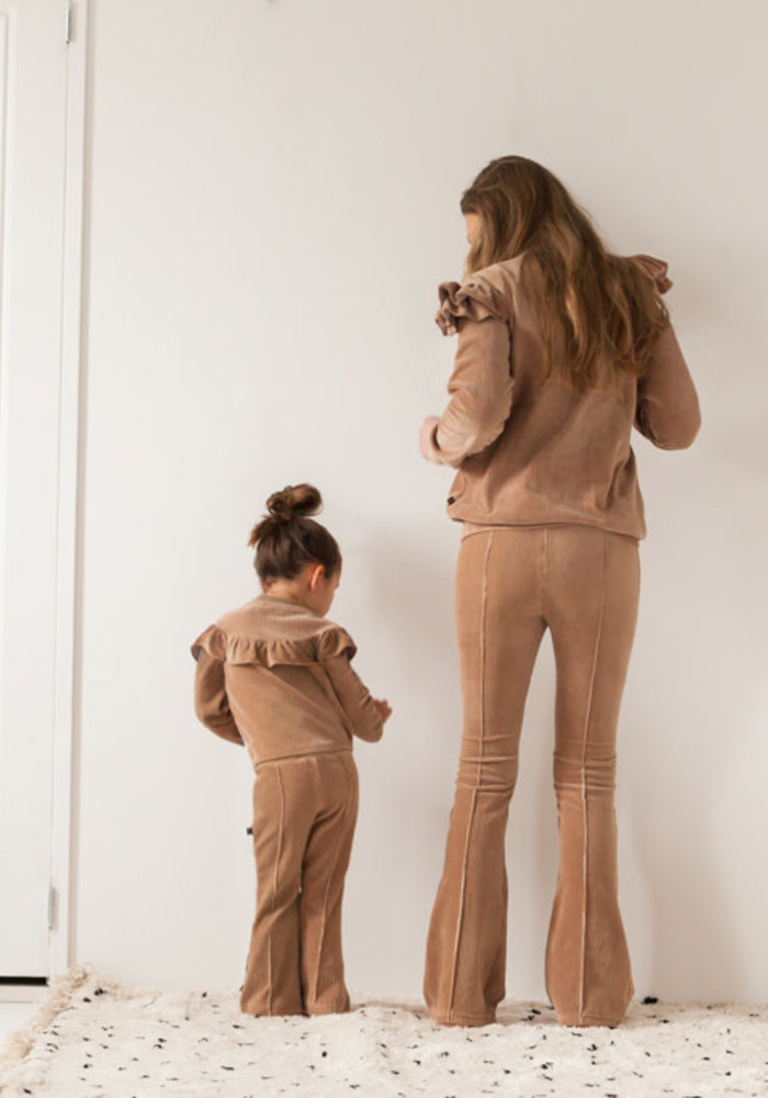 House of Jamie Mommy Ruffled Sweater Biscuit Rib Velvet