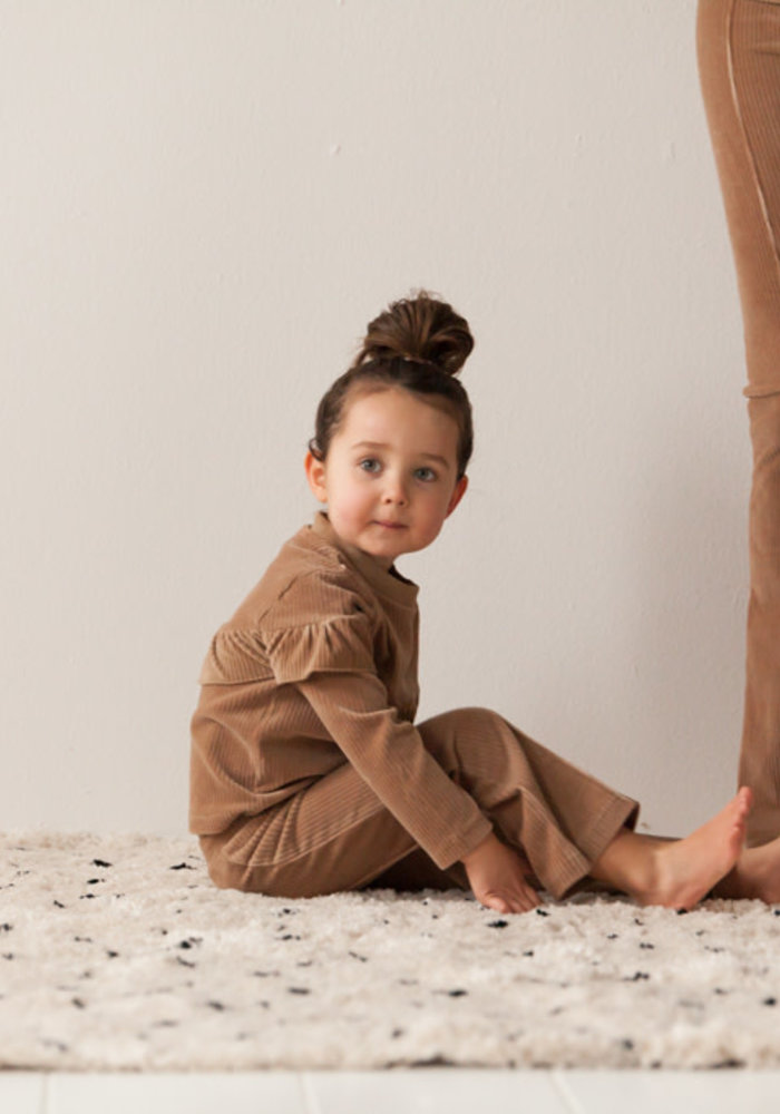 House of Jamie Mommy Flared Pants Biscuit Rib Velvet