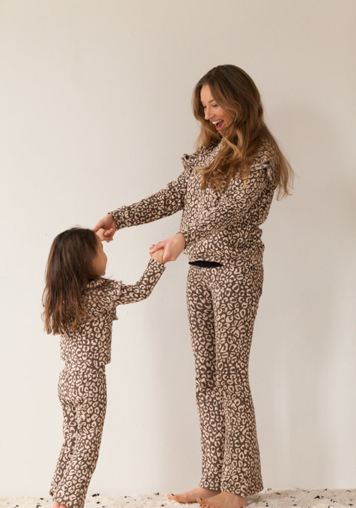 House of Jamie Mommy Flared Pants Rosewood Leopard