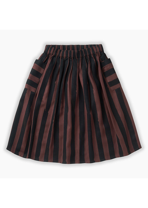 Sproet & Sprout Sproet & Sprout Long Skirt Painted Stripe Chocolate